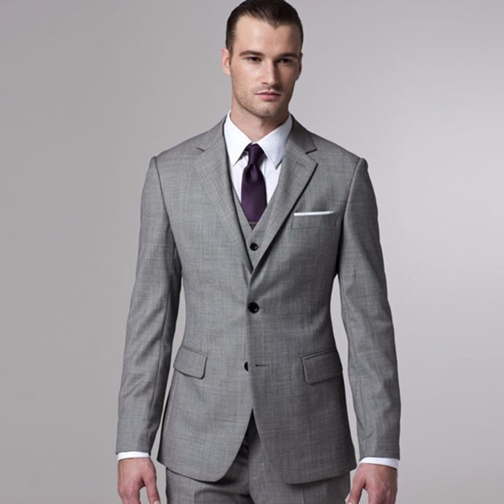 Gray Sharkskin Groom Suit Custom Made Grey Two-Toned Woven Wedding Suits For Men,Bespoke Vintage Gray Tuxedo Gray Wedding Tuxedo