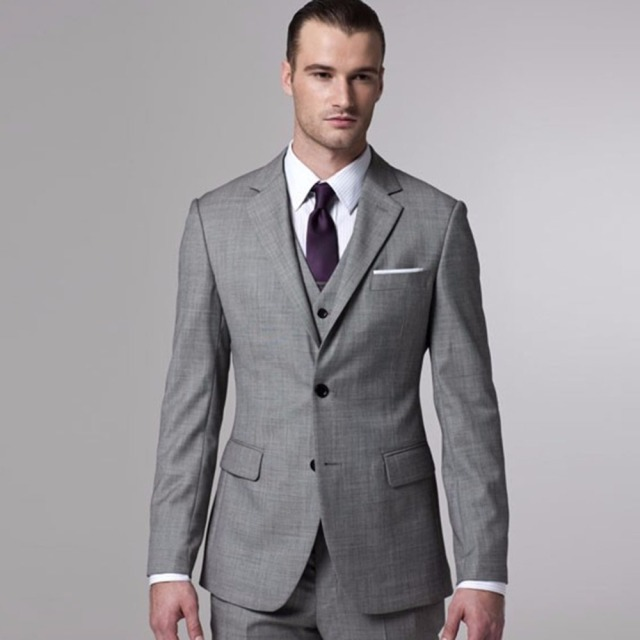 Gray Sharkskin Groom Suit Custom Made Grey Two Toned Woven Wedding ...