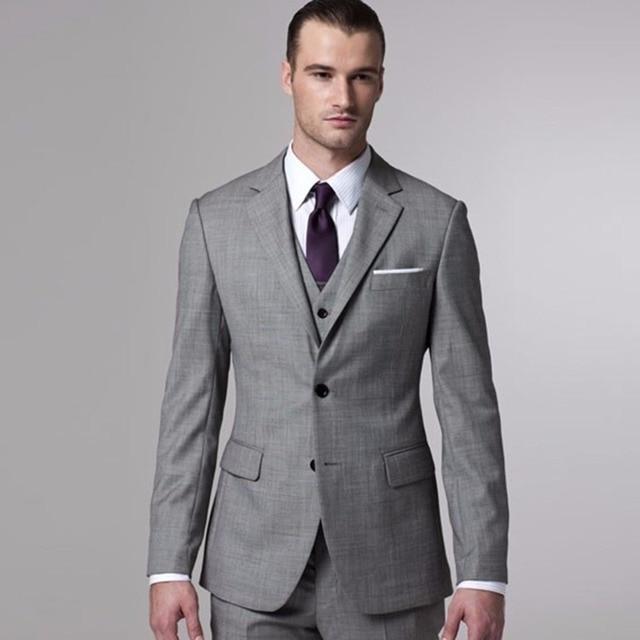 Gris Sharkskin traje novio por encargo gris de dos tonos tejido trajes de  boda para hombres 83aa3c6b76a