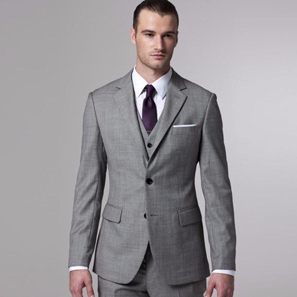 Traje de novio gris Sharkskin hecho a medida gris dos tonos tejidos trajes de boda para hombres, esmoquin de boda gris Vintage a medida-in Trajes from Ropa de hombre    1