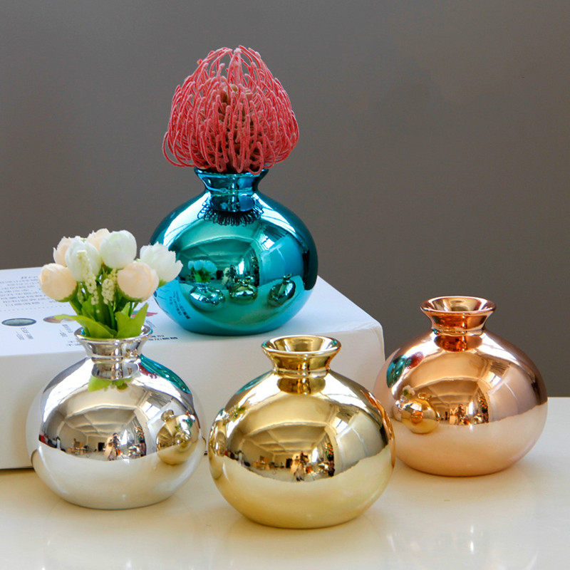 European plating gold rose gold blue gold ceramic vase flower trumpet home decoration ornaments crafts