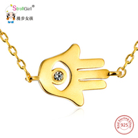 Gold Color Hand Of Fatima Necklace Girl 925 Sterling Silver Lucky Faith Zirconia Necklaces Pendants For