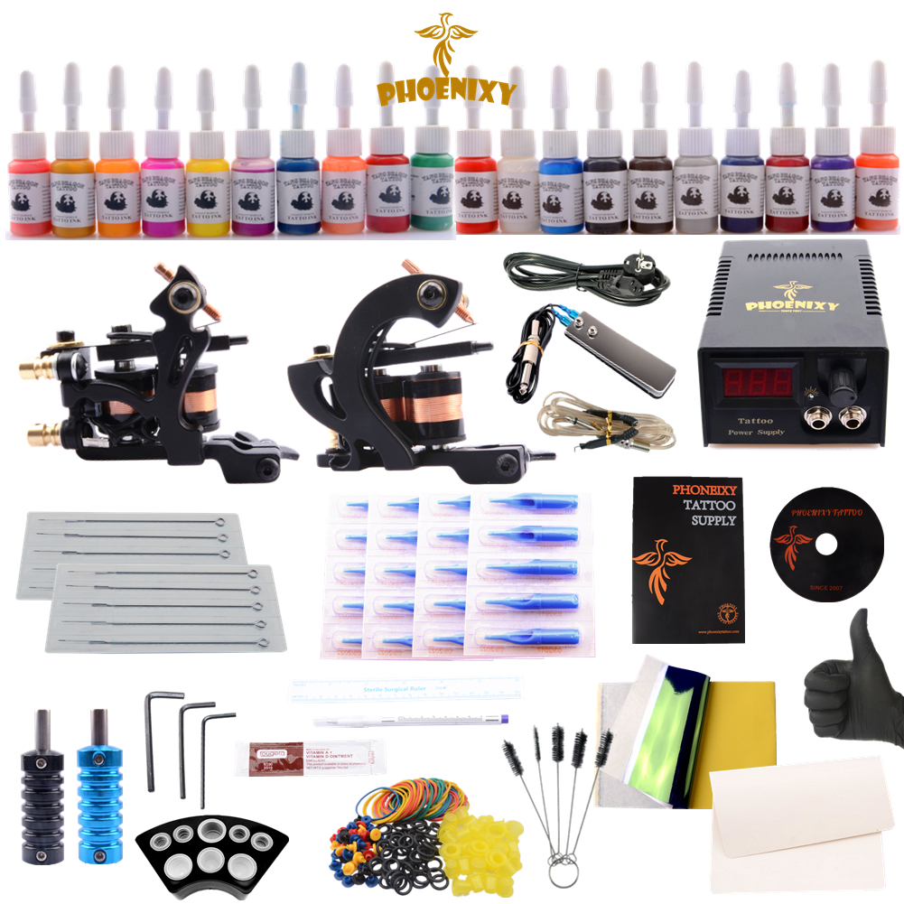 Professional Complete Tattoo Kit Tattoo Machine 2pcs Liner Shader Tattoo Gun Immortal Tattoo Ink Set Power Box Grip Tips Supply professional 1 bottle tattoo ink for lining and shading newest tribal liner shader pigment black newest 249ml drop shipping