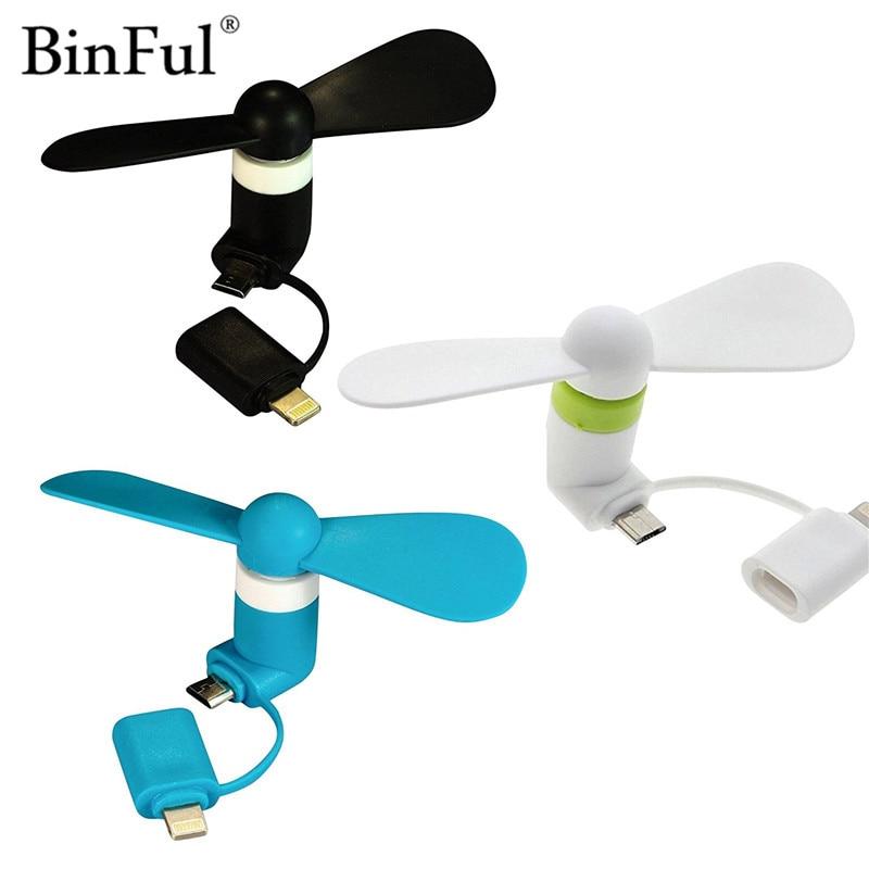BinFul 100% getest Mini 2 in 1 Draagbare Micro USB Ventilator Voor iPhone 5 6 hand Fan voor Samsung HTC Android OTG Smartphones USB Gadget