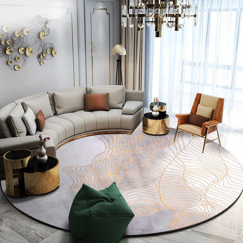 Nordic Line Round Carpet Living Room Home Round Rug Thick Bedroom Carpet  Computer Chair Floor Mat Cloakroom Modern Area Rugs