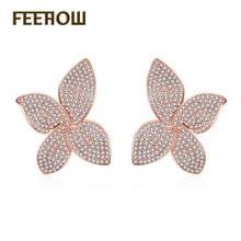 Feehow flor Linda forma Pendientes de broche para mujeres oro blanco color joyería de moda Boucle d'oreille Femme Navidad fwep2078