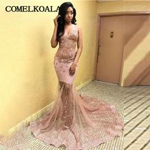 c0dae7995f5 Sparkly African Prom Long Dress Mermaid Rose Gold Sequin Sexy V Neck  Appliques Spaghetti Straps Women