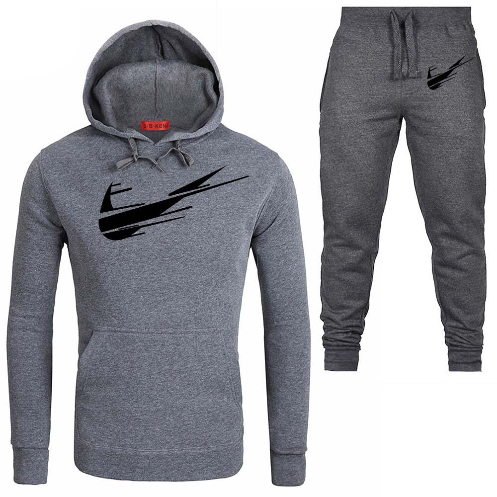 2019 New Fashion Style 2 Pieces Set Casual Tracksuit Men Coat Sweatshirt + Pants Sportswear Male Suit   Hoodies Printed Suit