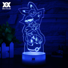 New Pokemon 3D Lamp Pikachu/Riolu Cartoon Night Light LED Cool Colorful Decorative Desk Lamp Child Gift Bedroom Lights