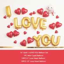 29PCS I LOVE YOU Foil Balloons Love Heart Helium Balloons LOVE YOU Globos for Lover Valentine's Day Ballons Decorations