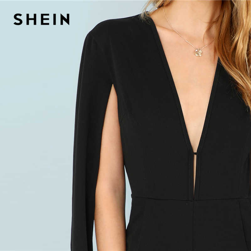 fc8809aa7fa ... SHEIN Black Highstreet Office Lady Plunging Neck Cloak Sleeve Modern  Sexy Maxi Tapered Jumpsuit Autumn Women ...