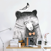 Bear wall stickers Modern Nordic animal stickers black and white home Illustration painting stickers for kids rooms vinilo pared