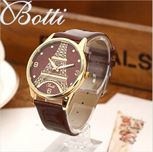 Eiffel Tower Top New Brand Luxury Women Watch Retro Design Leather Band Analog Alloy Quartz Wrist Watch 2016 montre femme Y106