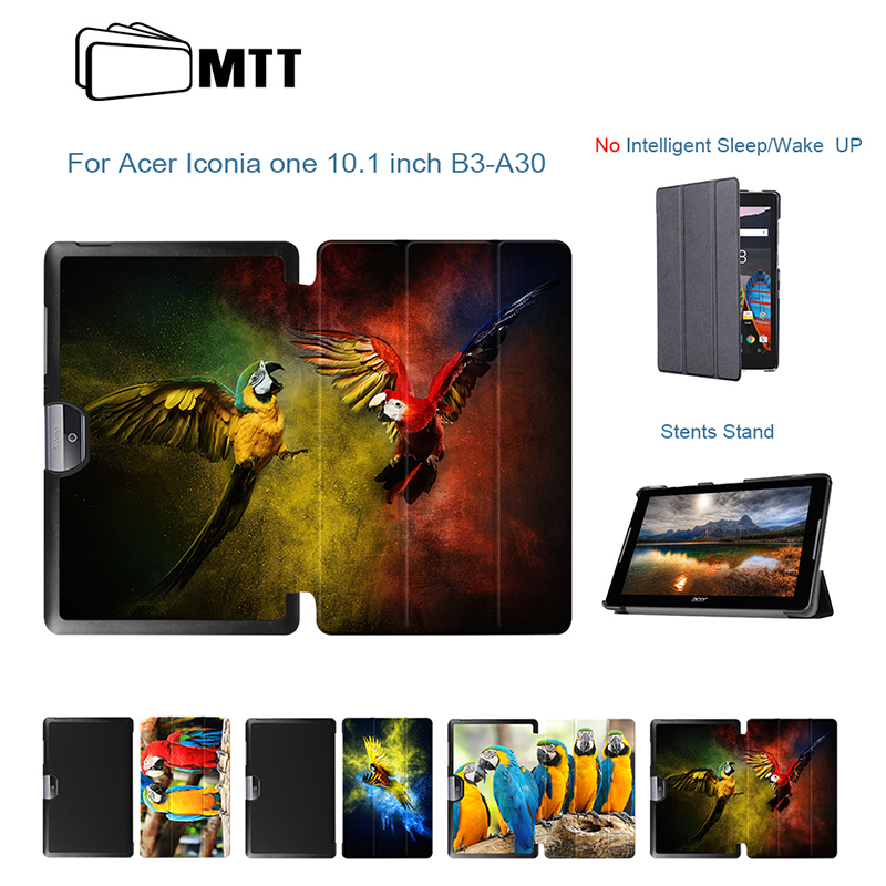 все цены на MTT Parrot Painted Cover For Acer Iconia one 10 B3-A30 Case for Acer Tab 10 A3-A40 Tablet TriFold Stand Leather Fundas Shell