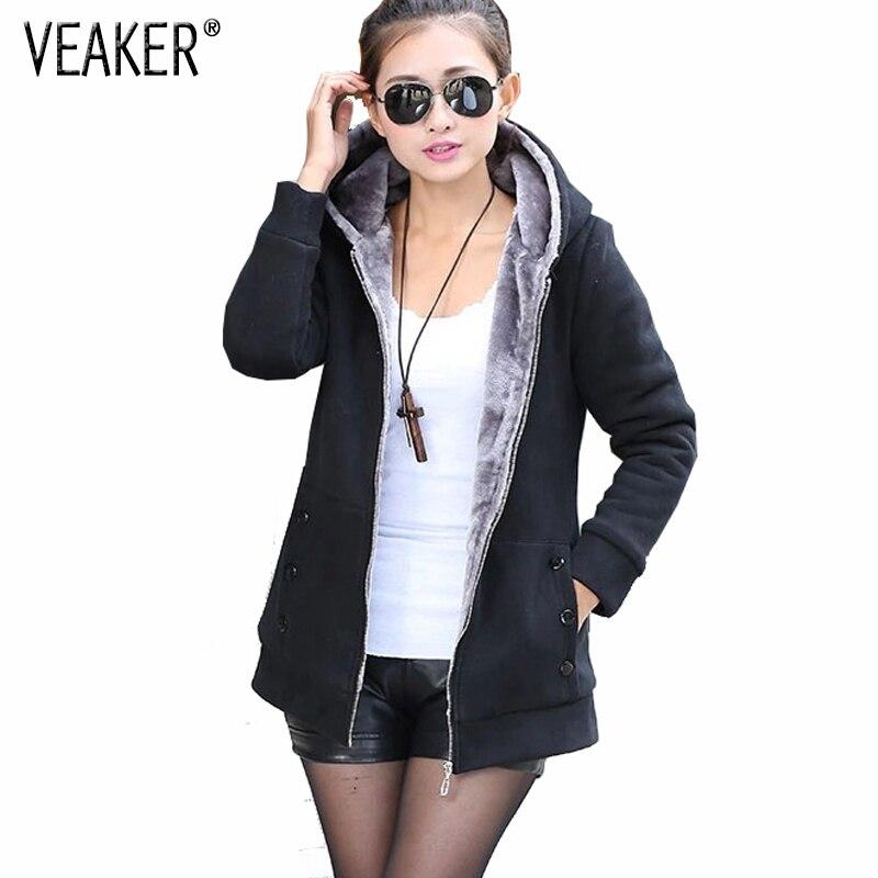 2019 Autumn Women Zipper Hoodies Coat Female Slim Fit Fleece Jackets Long Sleeve Warm Fur Long Coats Plus Size 4XL