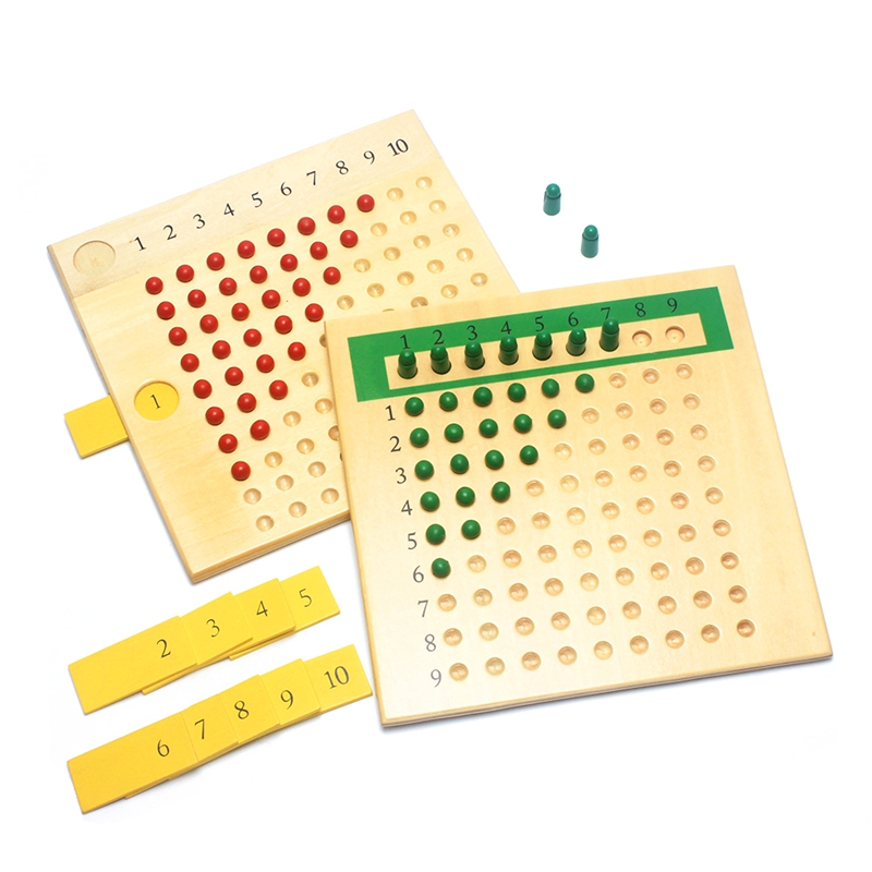цена на Early Wooden Montessori Materials Mathematics Teaching Toys Multiplication & Division Math Toy Beads Board Red Green Learning