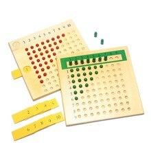 Planche de perles en bois Montessori, jouets d'enseignement des mathématiques, Multiplication et Division, apprentissage rouge et vert