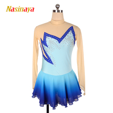 customized clothes ice figure skating dress rhythmic gymnastics blue child girl show skirt performance rhinestone long sleeve стоимость