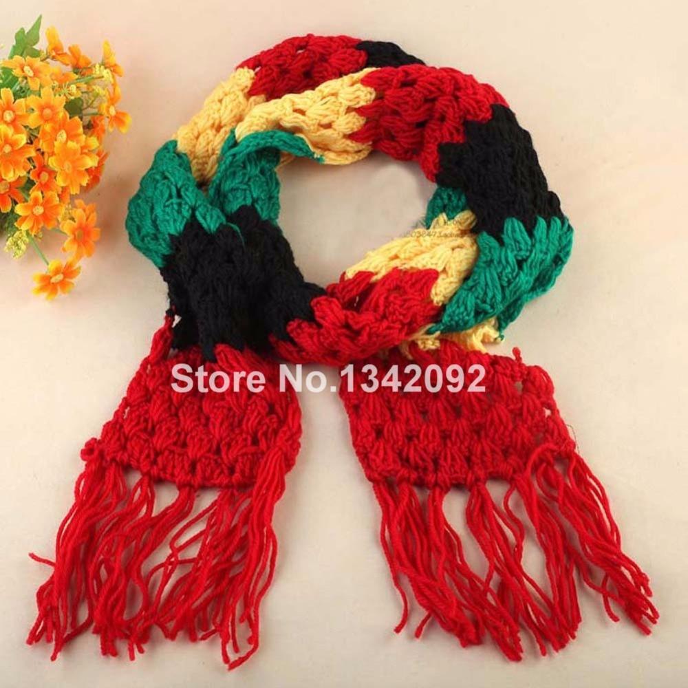 nueva moda jamaica rasta del reggae del color de la bufanda hechos a mano del ganchillo