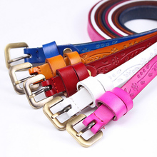 2019 New Yellow Black Thin Genuine Leather Dress Belt  for Women Ceinture Femme Womens Floral Carved Vintage Pin Buckle Belts