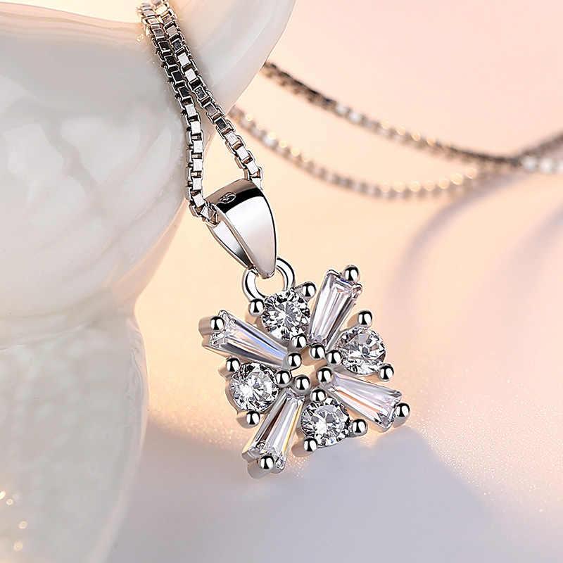 100% Plata de Ley 925 cristal brillante a la moda amor cube collares colgantes para mujeres caja corta cadena joyería al por mayor