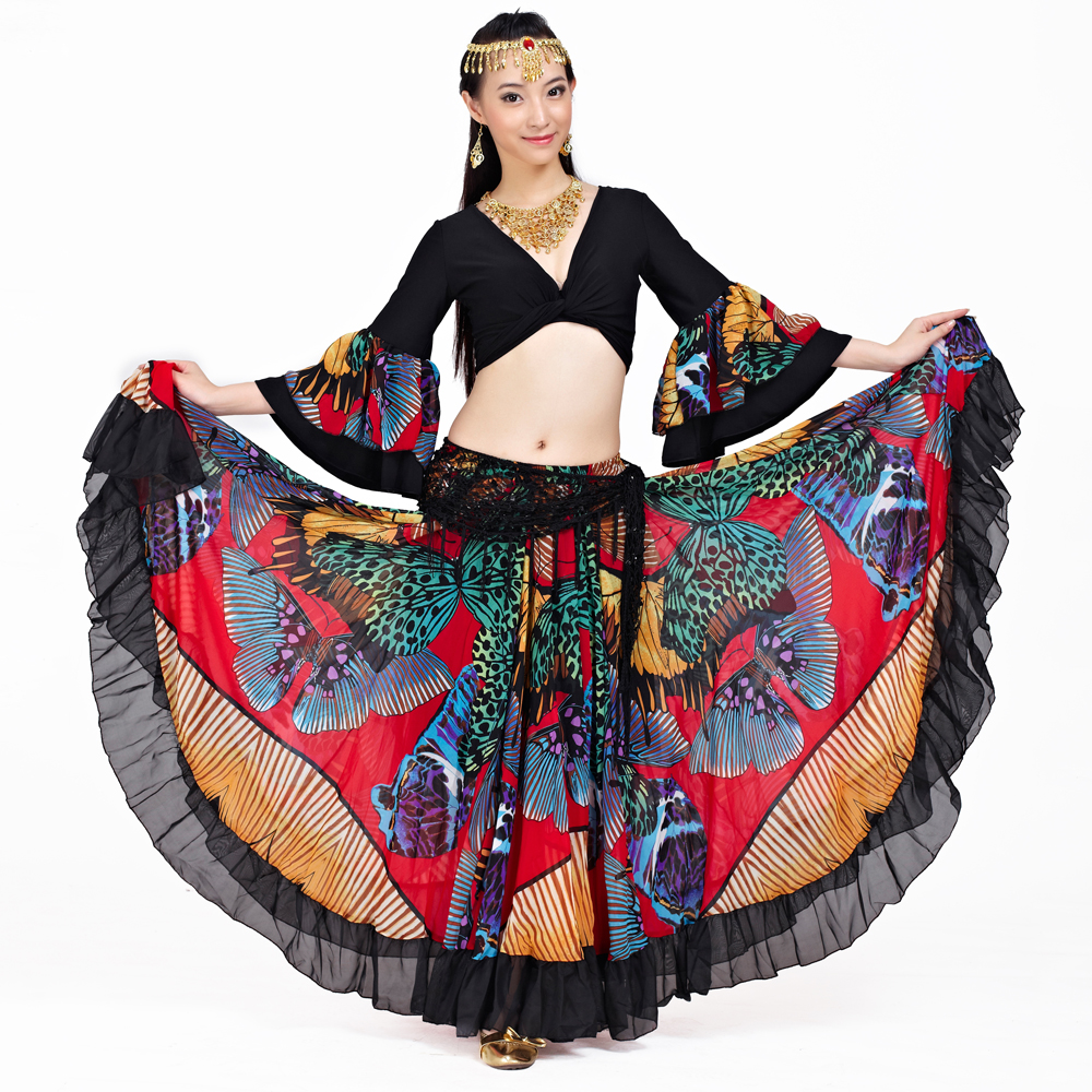 Image 4 - 2018 Newest Top grade gypsy belly dance skirt for women big flowers 2 3 m big skirt 720 degrees-in Belly Dancing from Novelty & Special Use
