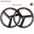 Superteam карбоновые велосипедные колеса 700C клинчер 3 Спицы Фиксированное колесо шестерни карбоновое волокно трек-колесо