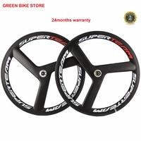 Superteam Carbon Bike Wheels 700C Clincher 3spokes Fixed Gear Wheel Carbon Fiber Track Wheelset