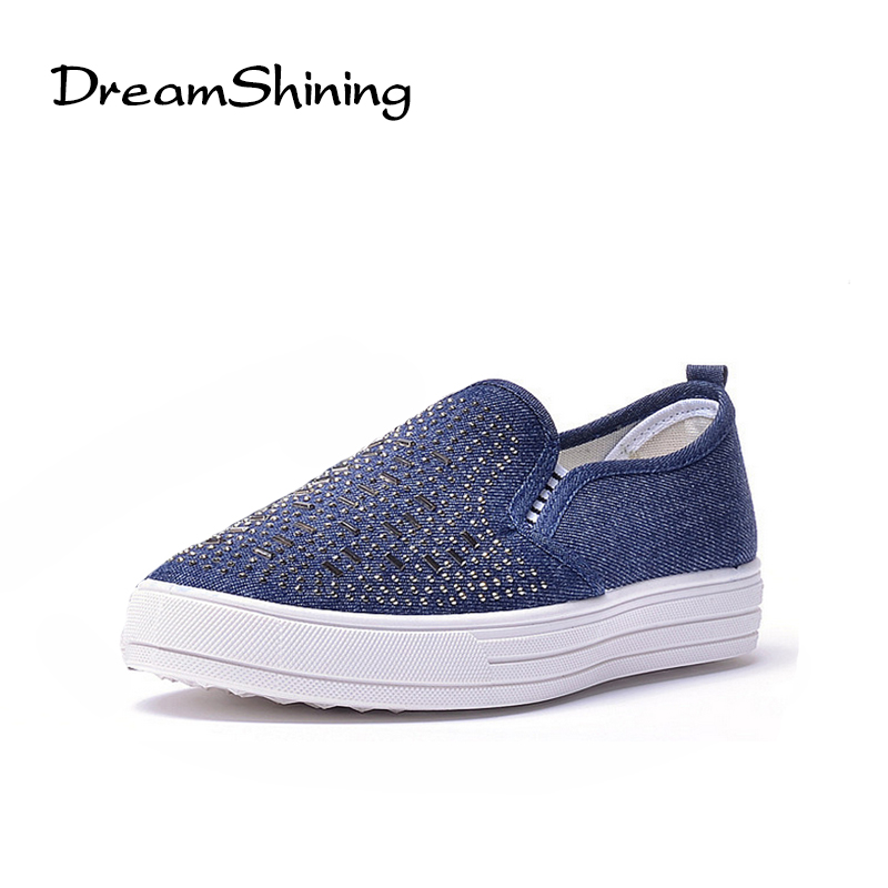 DreamShining Women's Shoes Rivet Canvas Shoes Comfortable Thick Bottom Slip on Flats Shoes Women Slipony Causal Shoes vintage embroidery women flats chinese floral canvas embroidered shoes national old beijing cloth single dance soft flats