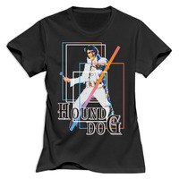 Gildan Women The King Elvis Presley Hound Dog Round Neck Girl Woman T Shirt O Neck