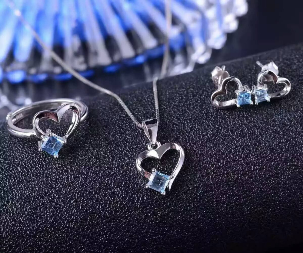 Natural blue topaz gem jewelry sets natural crystal ring Pendant Earrings S925 silver Elegant Romantic lovely heart fine jewelryNatural blue topaz gem jewelry sets natural crystal ring Pendant Earrings S925 silver Elegant Romantic lovely heart fine jewelry