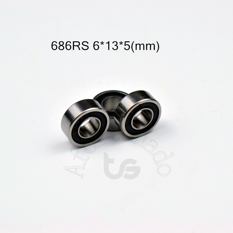 686RS 6*13*5(mm) 10pieces Free Shipping ABEC-5 Bearings Rubber Sealed Miniature Mini Bearing 686 686RS Chrome Steel Bearing