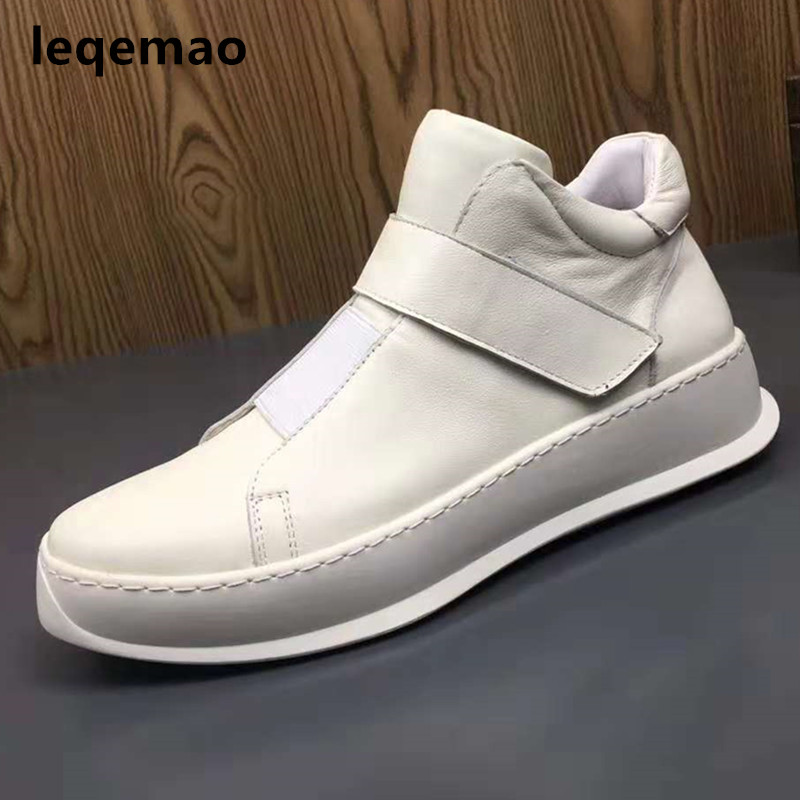 2018 Winter Fashion Cool Man Fur Warm Shoes High Quality Men Sneakers White Genuine Leather Brand Flats Ankle Boots Size 38-44 free shipping dhl biker brand winter fashion men genuine leather jacket clothing cool slim jackets man motorbiker warm coat