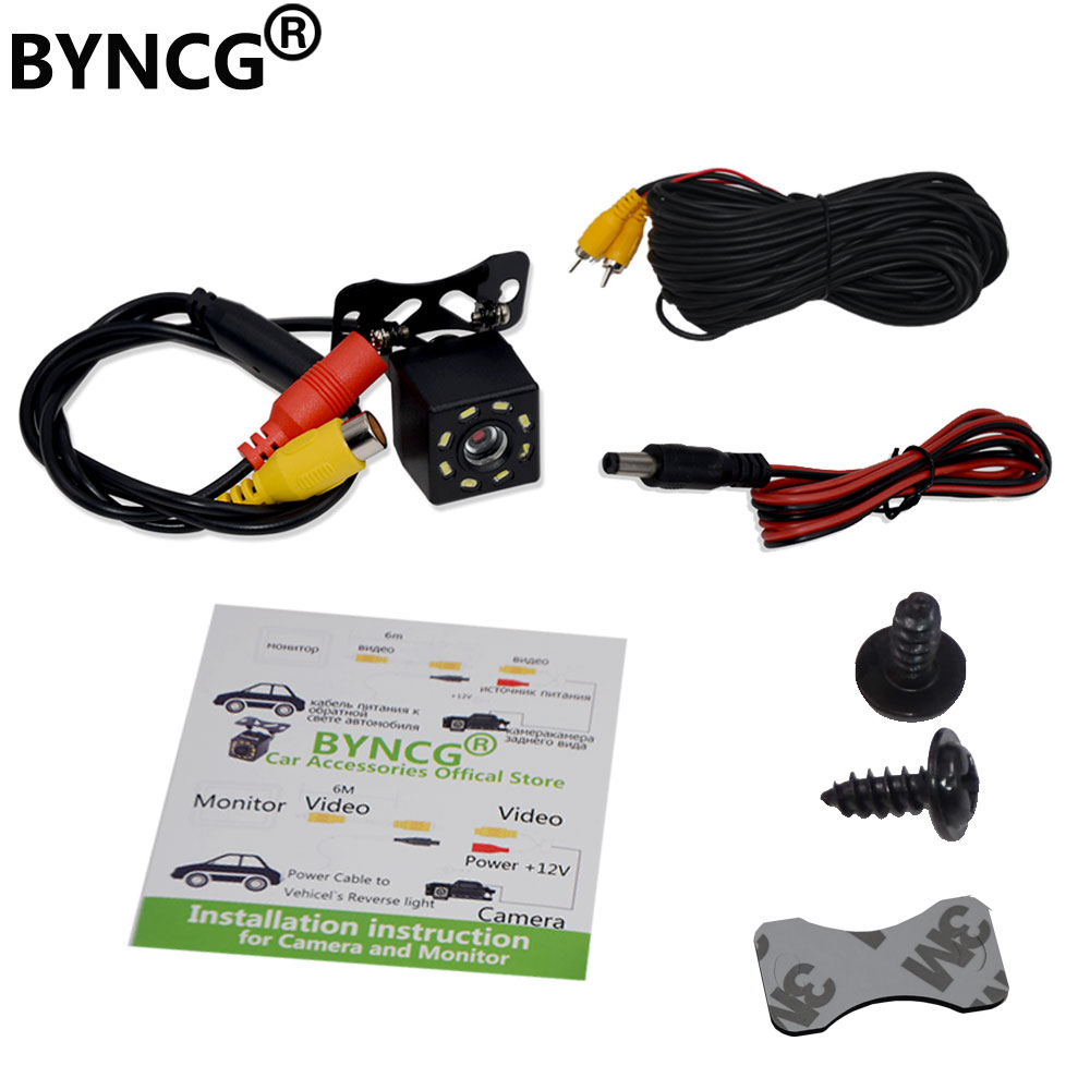 Car Rear View Camera 8 LED Night Vision Wide Angle HD Color Image Waterproof Universal Backup Parking Reverse Camera