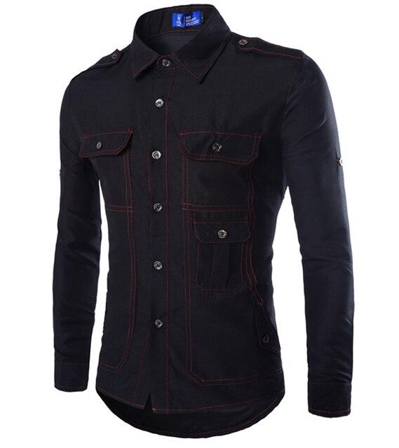 2015 бесплатная доставка рубашки большие карманы мужской Soild Camisa пышными рукавами Новый стиль бизнес-рубашки 16C92
