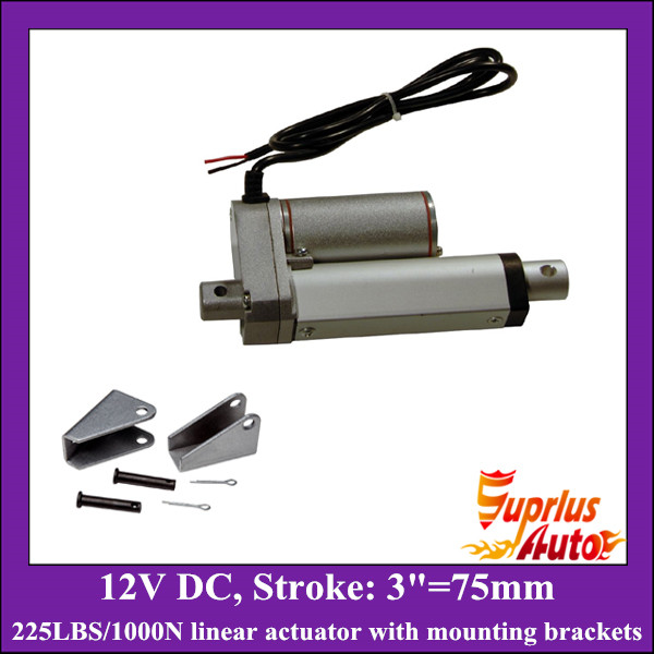 цена на 3inch/ 75mm stroke DC 12v linear actuator with mounting brackets, 1000N/225lbs load electric linear actuators