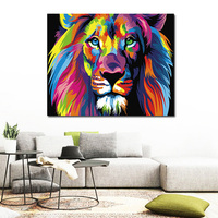 Colorful Lion Animals Abstract Painting DIY Hand Painted Digital Painting By Number Modern Wall Art Picture