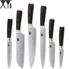 XYJ Brand Stainless Steel Knife 6 Pieces Knife Set 3.5″ 5″ 5″ 7″ 8″ 8″ Pattern Blade Kitchen Knife New Handmade Cooking Tools