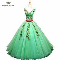 NOBLE WEISS Ball Gown Quinceanera Dresses Appliques Flower Floor Length Green Organza Sexy Formal Prom Dress