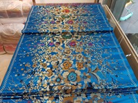 Chinese Traditional Brocade 75CM Polyester Lake Blue Back With Big Peony Middle Small Plum Flower 2