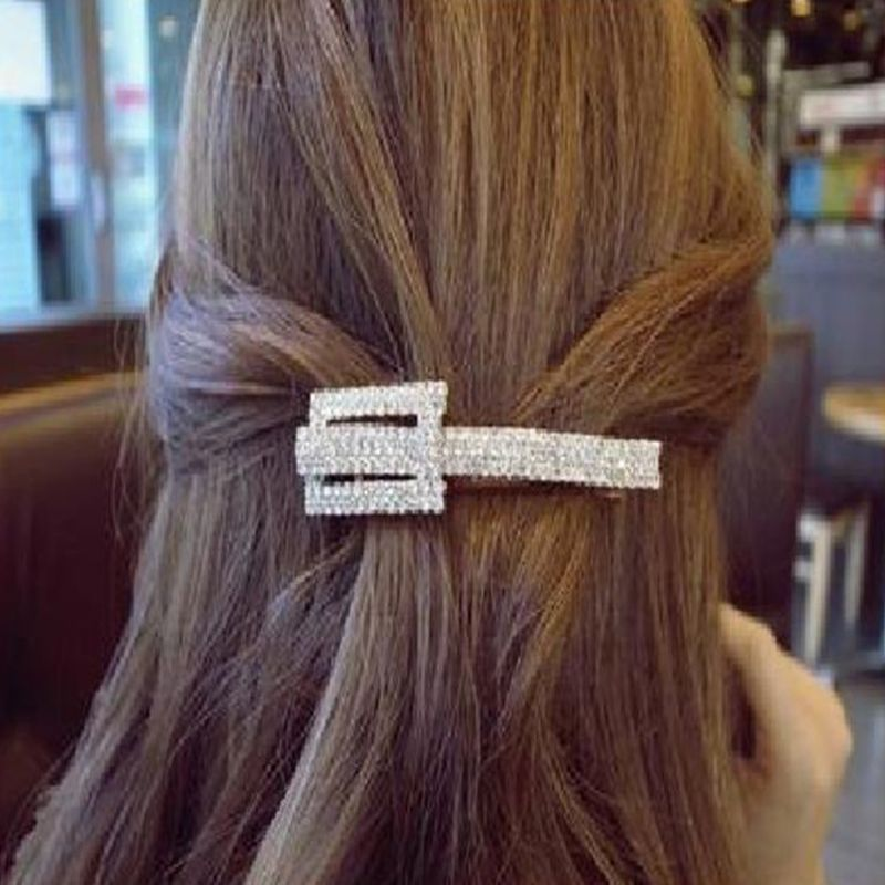 Ladies Metallic French Hair Clip Multi Rows Shimmer Rhinestone Geometric Spring Hairgrips Decorative Ponytail Clamp Barrettes