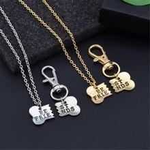 2 piezas personalizado moda plata y oro mejores amigos collar a juego y etiqueta de perro Clip hueso llavero amistad estampado