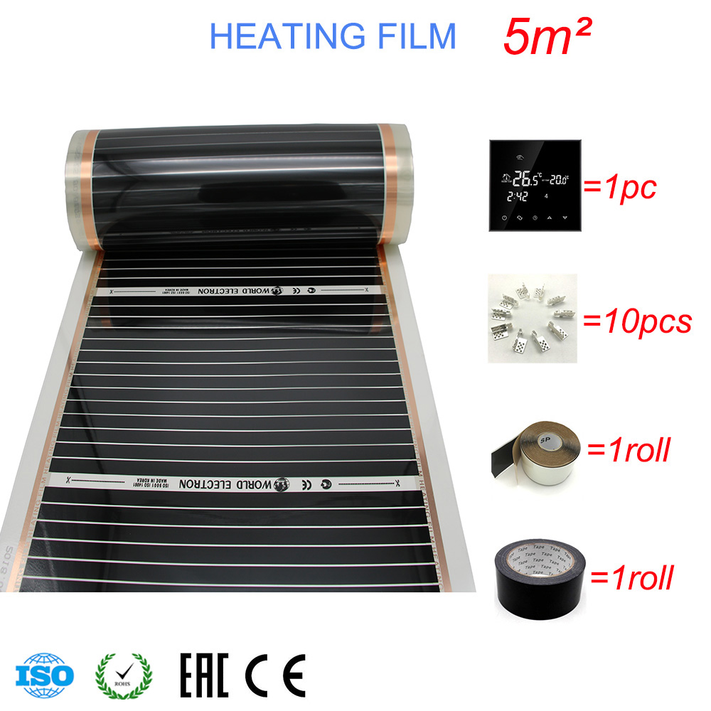 5 Square Meters Infrared Carbon Underfloor Heating Foils with Thermostat Clamp Insulation Daub