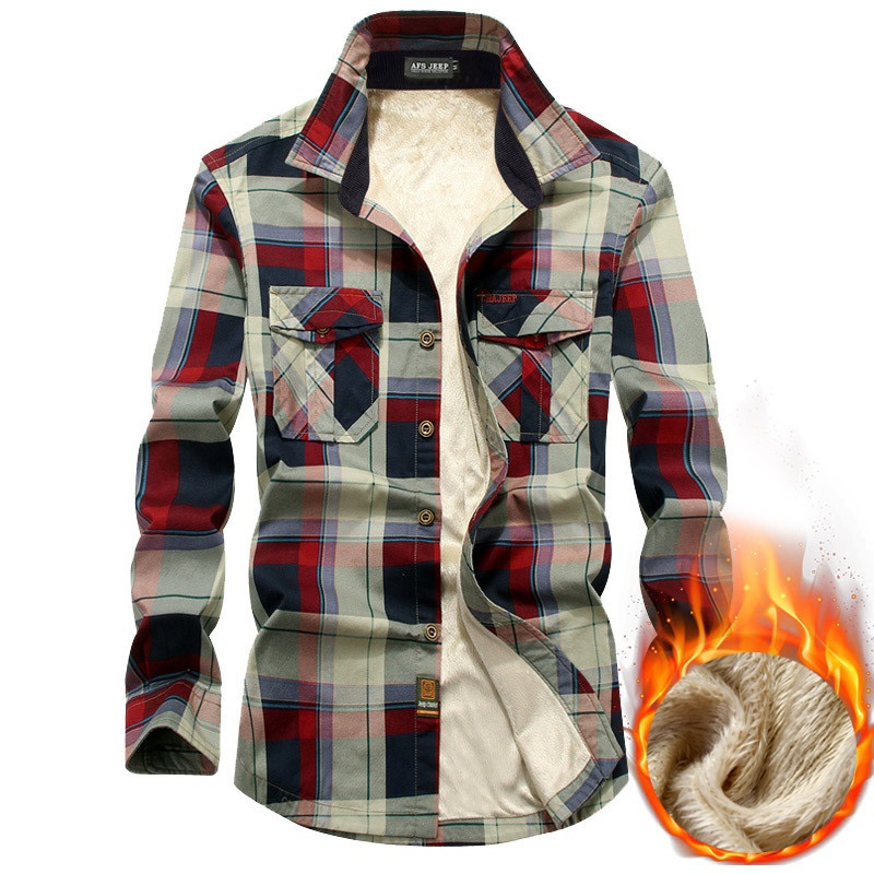 Brand Shirt Men Fleece Shirt Winter Thick Warm Camisa Masculina Pure Cotton Plaid Military Men Shirt Size M-4XL Chemise Homme Рубашка