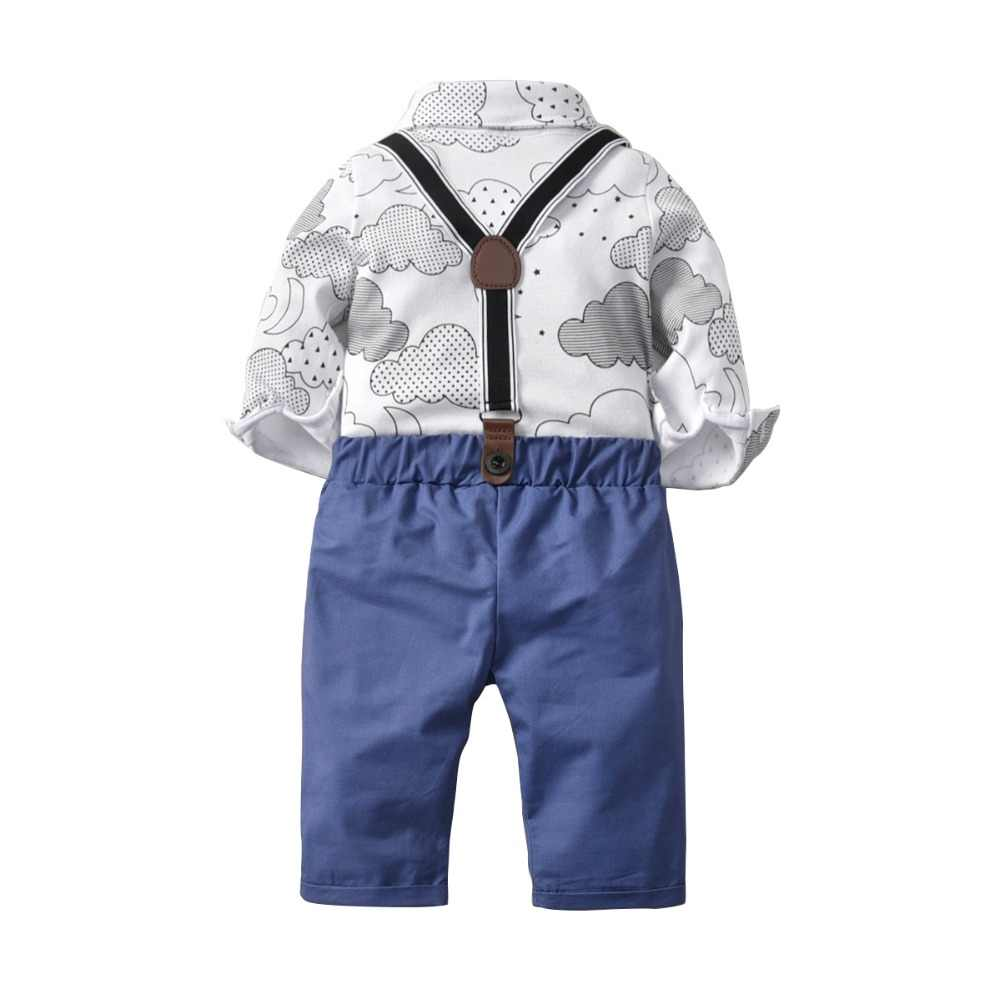 7d0276edf32e5 Carters Gentleman Boy Clothing Set Baby Boy Outfit Cloud Printed Boys  Shirts Cotton White Tops + Boys Overalls Baby Romper 2Pcs