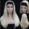 Половина парик 3/4 парики с повязка на голову длинные прямые блондинка из синтетических 9 цветов для вас выбирают бесплатная доставка