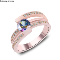Wholesale irregular Zircon female black/White Opal Ring silver/Rose gold Jewelry Vintage Wedding Rings For Women Christmas Gifts
