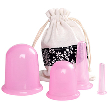 4pcs Silicone Facial Massage Cupping Set Vacuum Body Massager Cups Cellulite Therapy Face Suction Kit Helper gift Bag