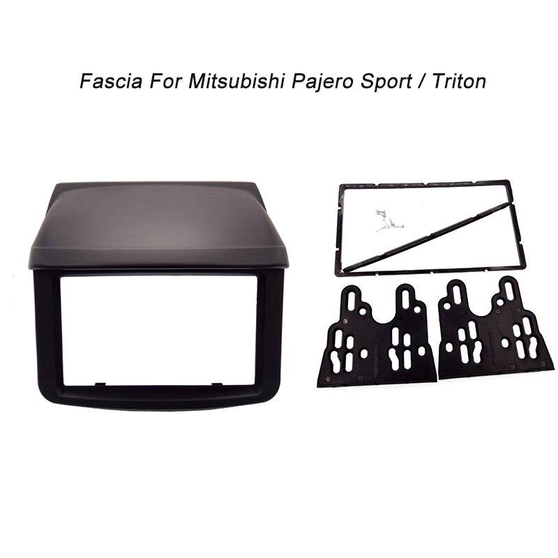 New 2 Din Fascia For Mitsubishi Pajero Sport Triton L200 Radio DVD Stereo Panel Dash Mounting Installation Trim Kit Face Frame