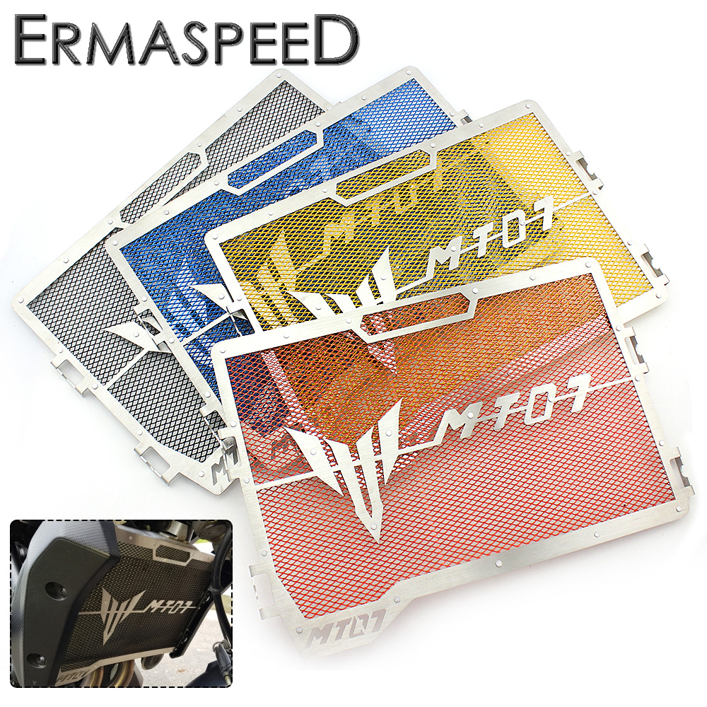 Motorcycle Radiator Guard Stainless Steel Grille Protector Bezel Cover Blue Gold Red Black for Yamaha MT07 2014 2015 for kawasaki z900 2017 motorcycle radiator guard gloss stainless steel grille bezel radiator net protective cover
